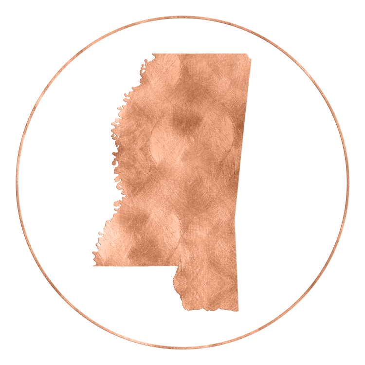 Outline of the state of Mississippi.